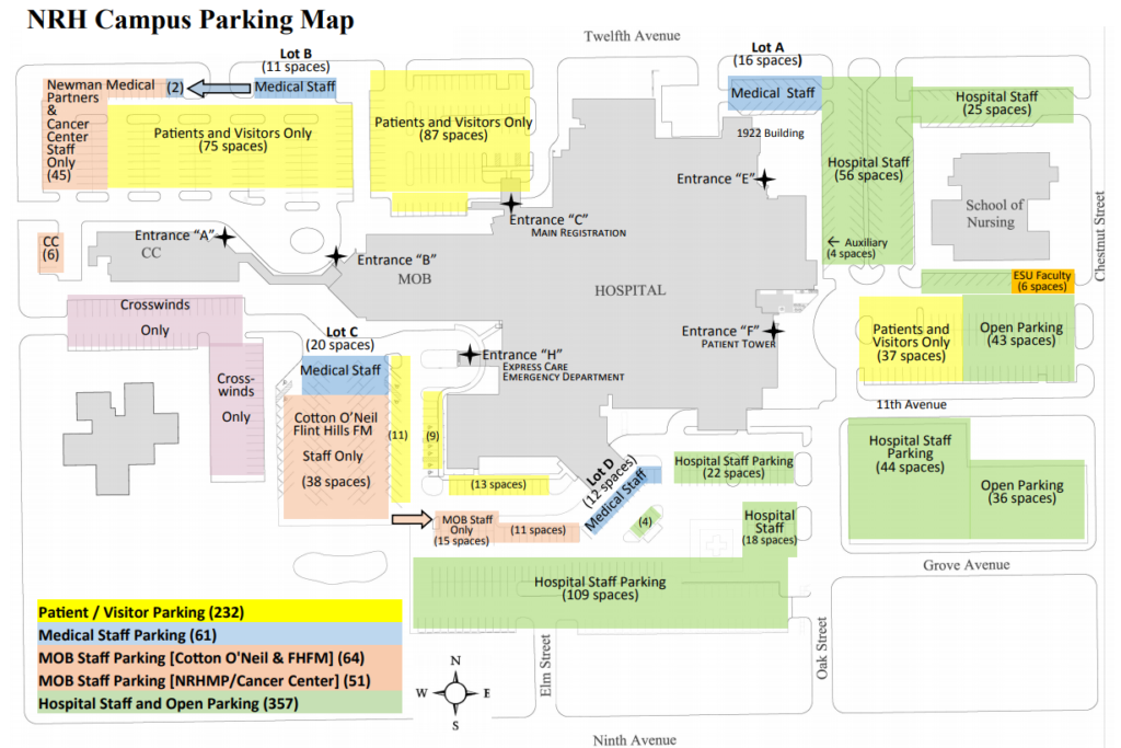 Newman Regional Health Parking Map