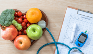 Diabetes Illustrating fruits and vegetables and monitoring Blood Sugar Levels